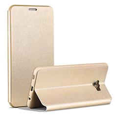 Samsung Galaxy C7 Pro C7010用手帳型 レザーケース スタンド サムスン ゴールド