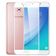 Samsung Galaxy C7 Pro C7010用強化ガラス フル液晶保護フィルム F02 サムスン ホワイト