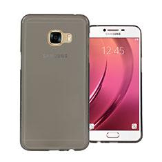Samsung Galaxy C7 SM-C7000用極薄ソフトケース シリコンケース 耐衝撃 全面保護 クリア透明 サムスン グレー