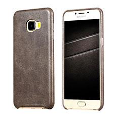 Samsung Galaxy C7 SM-C7000用ケース 高級感 手触り良いレザー柄 サムスン ブラウン