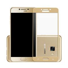 Samsung Galaxy C7 SM-C7000用強化ガラス フル液晶保護フィルム サムスン ゴールド