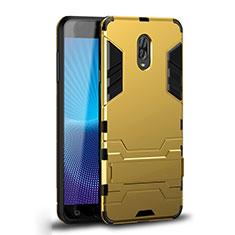 Samsung Galaxy C8 C710F用ハイブリットバンパーケース スタンド プラスチック 兼シリコーン カバー サムスン ゴールド