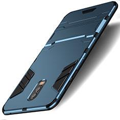 Samsung Galaxy C8 C710F用ハイブリットバンパーケース スタンド プラスチック 兼シリコーン サムスン シアン