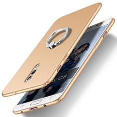 Samsung Galaxy C8 C710F用ハードケース プラスチック 質感もマット アンド指輪 サムスン ゴールド