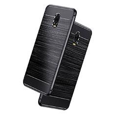 Samsung Galaxy C8 C710F用シリコンケース ソフトタッチラバー ツイル サムスン ブラック