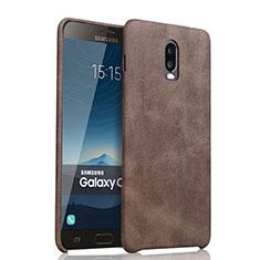 Samsung Galaxy C8 C710F用ケース 高級感 手触り良いレザー柄 サムスン ブラウン