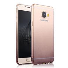 Samsung Galaxy C9 Pro C9000用極薄ソフトケース グラデーション 勾配色 クリア透明 サムスン グレー