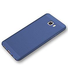 Samsung Galaxy C9 Pro C9000用ハードケース プラスチック メッシュ デザイン カバー サムスン ネイビー