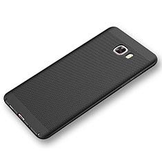 Samsung Galaxy C9 Pro C9000用ハードケース プラスチック メッシュ デザイン カバー サムスン ブラック