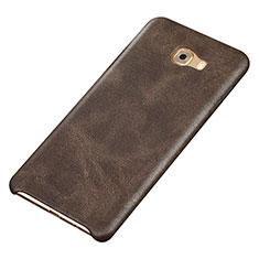 Samsung Galaxy C9 Pro C9000用ケース 高級感 手触り良いレザー柄 サムスン ブラウン