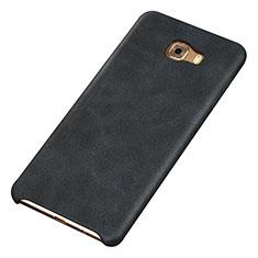 Samsung Galaxy C9 Pro C9000用ケース 高級感 手触り良いレザー柄 サムスン ブラック