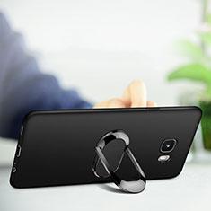 Samsung Galaxy C9 Pro C9000用極薄ソフトケース シリコンケース 耐衝撃 全面保護 アンド指輪 マグネット式 サムスン ブラック