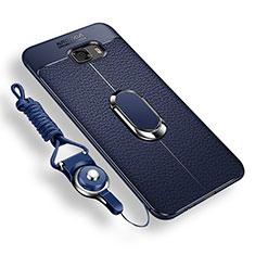 Samsung Galaxy C9 Pro C9000用極薄ソフトケース シリコンケース 耐衝撃 全面保護 アンド指輪 マグネット式 バンパー サムスン ネイビー