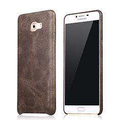 Samsung Galaxy C9 Pro C9000用ケース 高級感 手触り良いレザー柄 L01 サムスン ブラウン