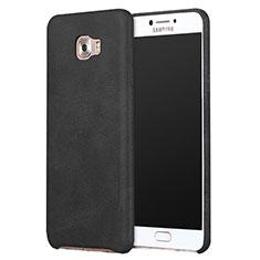 Samsung Galaxy C9 Pro C9000用ケース 高級感 手触り良いレザー柄 L01 サムスン ブラック