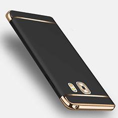 Samsung Galaxy C9 Pro C9000用ケース 高級感 手触り良い メタル兼プラスチック バンパー アンド指輪 サムスン ブラック