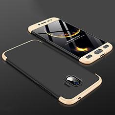 Samsung Galaxy J2 Pro (2018) J250F用ハードケース プラスチック 質感もマット 前面と背面 360度 フルカバー サムスン ゴールド・ブラック