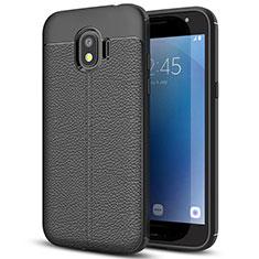 Samsung Galaxy J2 Pro (2018) J250F用シリコンケース ソフトタッチラバー レザー柄 サムスン ブラック