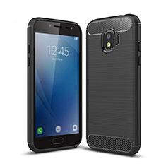 Samsung Galaxy J2 Pro (2018) J250F用シリコンケース ソフトタッチラバー ツイル サムスン ブラック