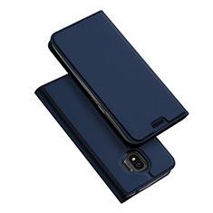 Samsung Galaxy J2 Pro (2018) J250F用手帳型 レザーケース スタンド L01 サムスン ネイビー