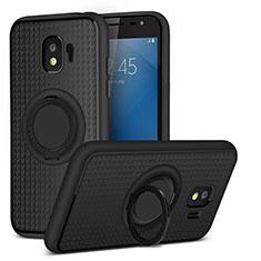Samsung Galaxy J2 Pro (2018) J250F用極薄ソフトケース シリコンケース 耐衝撃 全面保護 アンド指輪 マグネット式 サムスン ブラック