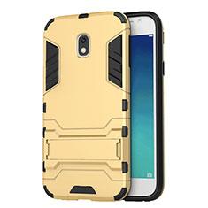 Samsung Galaxy J3 (2017) J330F DS用ハイブリットバンパーケース スタンド プラスチック 兼シリコーン サムスン ゴールド