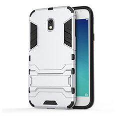 Samsung Galaxy J3 (2017) J330F DS用ハイブリットバンパーケース スタンド プラスチック 兼シリコーン サムスン ホワイト