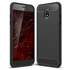 Samsung Galaxy J3 (2018) SM-J377A用シリコンケース ソフトタッチラバー ツイル カバー サムスン ブラック