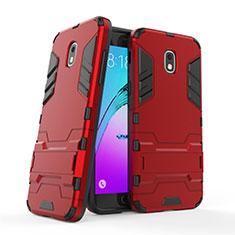 Samsung Galaxy J3 (2018) SM-J377A用ハイブリットバンパーケース スタンド プラスチック 兼シリコーン サムスン レッド