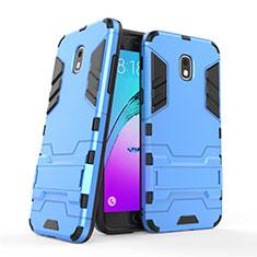 Samsung Galaxy J3 (2018) SM-J377A用ハイブリットバンパーケース スタンド プラスチック 兼シリコーン サムスン ネイビー