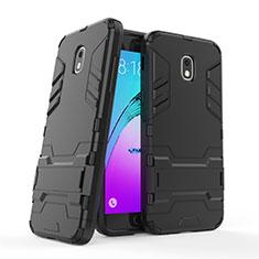 Samsung Galaxy J3 (2018) SM-J377A用ハイブリットバンパーケース スタンド プラスチック 兼シリコーン サムスン ブラック