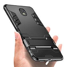 Samsung Galaxy J3 (2018) SM-J377A用ハイブリットバンパーケース プラスチック アンド指輪 兼シリコーン A01 サムスン ブラック