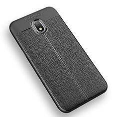 Samsung Galaxy J3 (2018) SM-J377A用シリコンケース ソフトタッチラバー レザー柄 Q01 サムスン ブラック