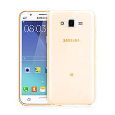 Samsung Galaxy J3用極薄ソフトケース シリコンケース 耐衝撃 全面保護 クリア透明 サムスン ゴールド
