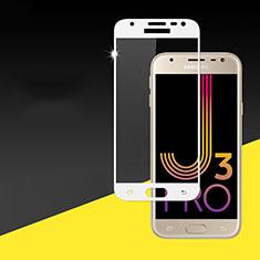 Samsung Galaxy J3 Pro (2017)用強化ガラス フル液晶保護フィルム サムスン ホワイト