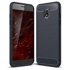 Samsung Galaxy J3 Star用シリコンケース ソフトタッチラバー ツイル カバー サムスン ネイビー