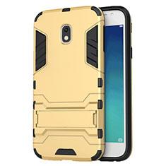 Samsung Galaxy J3 Star用ハイブリットバンパーケース スタンド プラスチック 兼シリコーン サムスン ゴールド