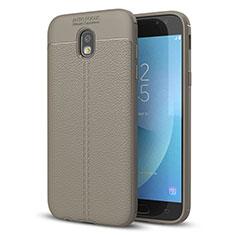 Samsung Galaxy J5 (2017) Duos J530F用シリコンケース ソフトタッチラバー レザー柄 サムスン グレー