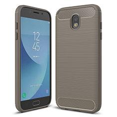 Samsung Galaxy J5 (2017) SM-J750F用シリコンケース ソフトタッチラバー ツイル カバー サムスン グレー
