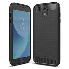 Samsung Galaxy J5 (2017) SM-J750F用シリコンケース ソフトタッチラバー ツイル カバー サムスン ブラック