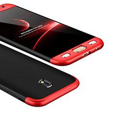 Samsung Galaxy J5 (2017) SM-J750F用ハードケース プラスチック 質感もマット 前面と背面 360度 フルカバー サムスン レッド・ブラック