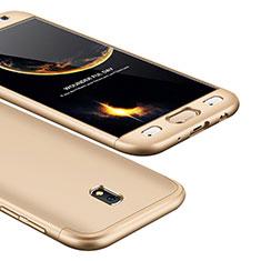 Samsung Galaxy J5 (2017) SM-J750F用ハードケース プラスチック 質感もマット 前面と背面 360度 フルカバー サムスン ゴールド