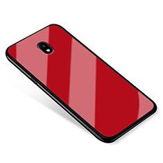 Samsung Galaxy J5 (2017) SM-J750F用ハイブリットバンパーケース プラスチック 鏡面 カバー サムスン レッド