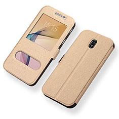 Samsung Galaxy J5 (2017) SM-J750F用手帳型 レザーケース スタンド カバー サムスン ゴールド