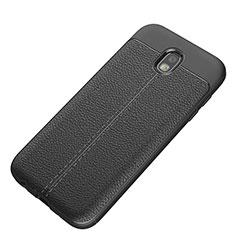 Samsung Galaxy J5 (2017) SM-J750F用シリコンケース ソフトタッチラバー レザー柄 サムスン ブラック