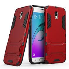 Samsung Galaxy J5 (2017) SM-J750F用ハイブリットバンパーケース スタンド プラスチック 兼シリコーン サムスン レッド