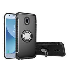Samsung Galaxy J5 (2017) SM-J750F用ハイブリットバンパーケース プラスチック アンド指輪 兼シリコーン サムスン ブラック