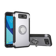 Samsung Galaxy J5 (2017) Version Americaine用ハイブリットバンパーケース プラスチック アンド指輪 兼シリコーン カバー サムスン シルバー