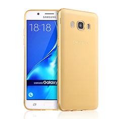 Samsung Galaxy J5 Duos (2016)用極薄ソフトケース シリコンケース 耐衝撃 全面保護 クリア透明 サムスン ゴールド