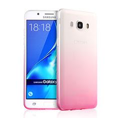 Samsung Galaxy J5 Duos (2016)用極薄ソフトケース グラデーション 勾配色 クリア透明 サムスン ピンク